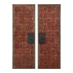 Uttermost Red Door Panels Set/2 - Distressed wood tone edges. These vibrant oil reproductions feature distressed wood tone edges and aged metal door handles.