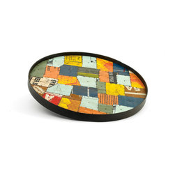 Random Top Finish Tin Patch Tray- Set Of 2 - Great Tin Patch Tray in Set Of 2 is crafted with iron & recycled tin and has random top finish.It offers plentiful space to display drinks and serve small eats.A perfect addition to your serve ware and also perfect for adding life to the table or buffet.