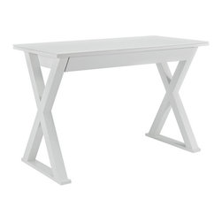 White Glass Metal Computer Desk - We're sure you might have to do some desk work now and then. There are several ways to go when it comes to desks, but we like this sleek and smooth one.