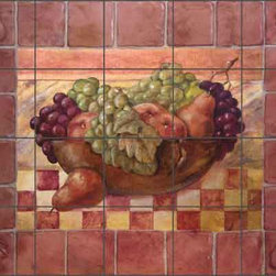 "Artwork On Tile - Rich Fruit Kitchen Ceramic Tile Mural Backsplash 21.25"" x 17"" - OB-WR718 - * 21.25"" w x 17"" h x .25"" Ceramic Tile Mural on Architectural Grade, 4.25"" Tile w/Satin Finish"