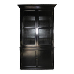 NOIR - NOIR Furniture - Colonial Display Cabinet in Hand Rubbed Finish, Black - Colonial Collection Display