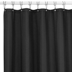 Interdesign Inc. - Westerly Black 72-Inch x 84-Inch Fabric Shower Curtain - This solid fabric shower curtain features understated stripes of finely textured waffling and is equipped with rust-proof metal grommets. It's the perfect way to add a touch of refinement to your shower.