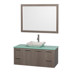 Wyndham - Amare 48in. Wall Vanity Set in Grey Oak w/ Green Glass Top & Carrera Marble Si - Modern clean lines and a truly elegant design aesthetic meet affordability in the Wyndham Collection Amare Vanity. Available with green glass or pure white man-made stone counters, and featuring soft close door hinges and drawer glides, you'll never hear a noisy door again! Meticulously finished with brushed Chrome hardware, the attention to detail on this elegant contemporary vanity is unrivalled.