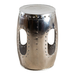 Round Rivet Barrel Stool- Mirror Nickel - Product Features: