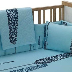 Bacati Modern Nature Turquoise and Black Contemporary 5 Piece Crib Set - The bold wheat print on this turquoise crib set gives it a more stylish look than the standard pastel teddy-bear options.
