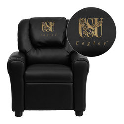 "Flash Furniture - Coppin State University Eagles Embroidered Black Vinyl Kids Recliner - Get young kids in the college spirit with this embroidered college recliner. Kids will now be able to enjoy the comfort that adults experience with a comfortable recliner that was made just for them! This chair features a strong wood frame with soft foam and then enveloped in durable vinyl upholstery for your active child. This petite sized recliner is highlighted with a cup holder in the arm to rest their drink during their favorite show or while reading a book.; Coppin State University Embroidered Kids Recliner; Embroidered Applique on Oversized Headrest; Overstuffed Padding for Comfort; Durable Black Vinyl Upholstery; Easy to Clean Upholstery with Damp Cloth; Cup Holder in armrest; Solid Hardwood Frame; Raised Black Plastic Feet; Intended use for Children Ages 3-9; 90 lb. Weight Limit; Meets or Exceeds CA117 Fire Resistance Standards; Safety Feature: Will not recline unless child is in seated position and pulls ottoman 1"" out and then reclines; Assembly Required: Yes; Country of Origin: China; Warranty: 2 Years; Dimensions: 27""H x 24""W x 21.5 - 36.5""D"