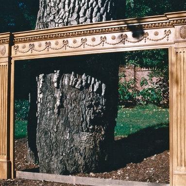 Adam Style fireplace mantel in pine - Hand carved in pine - Adam style Federal fireplace mantel