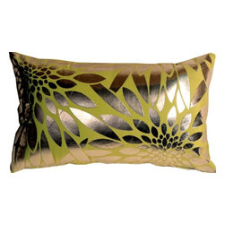Pillow Decor Ltd. - Pillow Decor - Metallic Floral Green Rectangular Throw Pillow - Made from a durable, high quality fabric, this is the perfect throw pillow for any room in need of some colorful punctuation. The base fabric is a soft microfiber, while the floral shapes are a smooth reflective silver. *Pillow dimensions always refer to the pillow cover's width and length while lying flat unstuffed and are rounded up to the nearest whole inch.