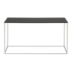 "Blu Dot - ""Blu Dot Minimalista Console Table, Graphite on Oak"" - Nothing but the bare essentials here. Sublime stainless steel gently supports your choice of top. Available in graphite-on-oak."