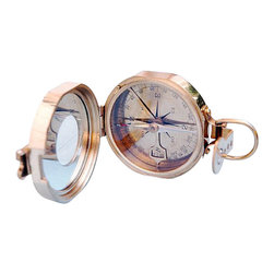 "Clinometer Compass w/ Round Sighting Window & Leather Case - This compass can determine both the magnetic heading of an object, as well as its angle of elevation or declination.  A pendulous arm beneath the compass needle can read the angle in degrees of elevation or declination.  The interior of the compass lid has a mirror with a round sighting window.  A front sight folds up, and the window in the lid has a scribed line to serve as a rear sight.  The compass rose is marked in degrees and has the original old markings. The inclination scale is printed mirror imaged so that when taking a elevation or declination measurement, the lid can be placed in the 45 degree position, and the angle can be read while simultaneously viewing the object. The compass has a needle lift mechanism to protect the compass when being transported.  The compass measures 3"" in diameter, 1 3/8"" thick, and weighs 14 1/4 ounces. A leather case comes with this item. The case has a rear belt loop and the front of the case is embossed ""Stanley London."""