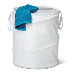 Honey Can Do - Large Nylon Pop Open Hamper - White - Springs open instantly. Folds flat for storage. Long carrying handles. Easy transport. Spiral steel frame. Maximum support. Nylon material. Easy to wipe clean. 18.5 in. L x 18.5 in. W x 23.6 in. H (1.075 lbs.)Honey-Can-Do HMP-01128 Breathable Large Nylon Pop-up Hamper, White.  Want a hamper with a big pop? Now you've got it. This large white nylon hamper pops-up to open and easily compresses flat when not in use. Velcro-style tabs keep the item compressed while in storage. The nylon material is easy to clean and useful carrying handles make transporting clothes to the laundry room, Laundromat, or dry cleaner a breeze. Oval cutout in top of hamper keeps worn clothes semi-concealed for a neater appearance. Keep clothes off of the floor and your space neat and clean with this practical and fun hamper.
