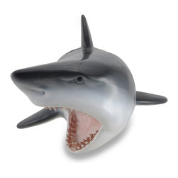 Zeckos - Great White Shark Head Wall Mount Trophy Sculpture - With swift and energetic momentum, sharks can leap right out of the water while attacking prey. Rest assured this shark head won't cause any trouble as it pops out from behind the bar, busts through the patio or hurdles into the media room This cool 11.5 inch (29 cm) high, 16 inch (41 cm) wide sculpture is sure to stop your friends dead in their tracks as it releases 10 inches (25 cm) from the wall creating a truly 3-D display It easily hangs with a single nail or hook via the attached keyhole hanger on the back. This wall sculpture transforms any home, door, restaurant or garden into a magnificent marine menagerie