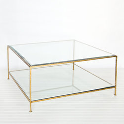 Clara Coffee Table Collection - A hammered metal base coffee table in umber gold, with 2-tiers containing beveled glass tops. Choose from three different shapes to accent your specific space.
