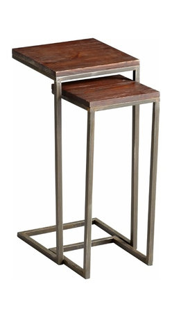 Wood/Iron Square Nesting Tables, Set of 2 - *Kirby Tables