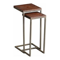 Wood and Iron Square Nesting Tables Set of 2 - *Kirby Tables
