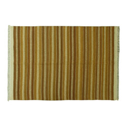 4X6 SHades Of Brown Area Rug, Hand Woven Striped 100%Wool Durie Kilim Rug SH6386 - Soumaks & Kilims are prominent Flat Woven Rugs.  Flat Woven Rugs are made by weaving wool onto a foundation of cotton warps on the loom.  The unique trait about these thin rugs is that they're reversible.  Pillows and Blankets can be made from Soumas & Kilims.