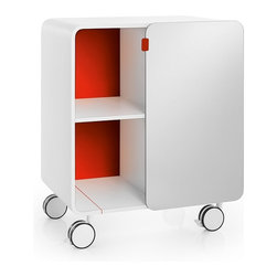 WS Bath Collections - Bej Portable Red Cabinet With Glass Door - Bej 8030.11 Cabinet with glass Door on Wheels in Red, Cabinet with Glass Door on Wheels In Red, Free Standing, Made in Italy