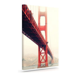 """Kess InHouse - Bree Madden """"Golden Gate"""" Wrapped Art Canvas (24"""" x 20"""") - Bring your outdoor patio to life with this artistic outdoor canvas wrap featuring gorgeous artwork by KESS InHouse. These canvases are not only easy to hang and remove but also are the perfect addition to your patio collection. These canvases are stretched around a wooden frame and are built to withstand the elements and still look artistically fabulous. Decorating your patio and walls with these prints will add the splash of art and color that is needed to bring your patio collection together! With so many size options and artwork to choose from, there is no way to go wrong with these KESS Canvas Wraps!"""