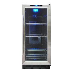 Vinotemp - VT-32SB Beverage Cooler - The same size as a kitchen trash compactor, the VT-32 Beverage Cooler has a black body and stainless steel door. This unit features a double-Paned glass door, digital controls, metal shelves, and an interior light.