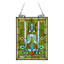Chloe Lighting - Carina Glass Window Panel - Note: Shade colors will appear darker and less vibrant when not illuminated.. The handcrafted nature of this product creates variations in color, size and design. If buying two of the same item, slight differences should be expected.. This stained glass product has been protected with mineral oil as part of the finishing process. Please use a soft dry cloth to remove any excess oil. . Glass, metal & bronze. Hanging chain (included). Overall: 17.76 in. L x 17.76 in. W x 25.51 in. H (6.17 lbs.)CARINA, Victorian motif window panel,�� is handcrafted with quality materials of real stained glass and gem-like cabochons. Framed in antique ed metal with designer anchors, makes a colorful addition to any room.
