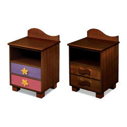 "Room Magic - Tropical Seas Nightstand, Chocolate - This attractive quality nightstand made of solid hard wood has a wave shaped back piece, and storage shelf for stowing all your children's favorite storybooks and toys. Two drawers have reversible drawer fronts that have a colorful stain finish on one side and Chocolate finish on the other, allowing you to easily change the look when your child outgrows the colorful stains. Includes 2 natural waves knobs and 2 adorable starfish knobs.  18""L x 16""D x 29""H"
