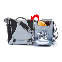 "Picnic Plus - Flex 2 Person Picnic Set, Black/Steel - 2 in 1 design messenger bag style insulated 2 person picnic set by Picnic Plus can accommodate up to a 15"" laptop and features a removeable fully equipped picnic set and cooler bag. Set includes (2) plates, (2) acrylic wine goblets, (2) napkins, (2) stainless steel utensils, and a multi function corkscrew opener. Take along your laptop for watching movies during your next outdoor adventure. Designed with a contemporary flair for today's on the go outdoor enthusiast with a diamond print durable nylon exterior.; 2 Person messenger bag style 2 in 1 picnic set by Picnic Plus;Country of Origin: China;Weight: 5 lbs;Dimensions: 14""W x 7""D x14""H"
