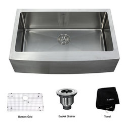 Kraus - Kraus 33 inch Farmhouse Apron Single Bowl 16 gauge Stainless Steel Kitchen Sink - *Add an elegant touch to your kitchen with a unique and versatile farmhouse apron sink from Kraus