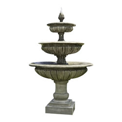 Campania - Three Tier Longvue Outdoor Water Fountain, Aged Limestone - The Three Tier Longvue Fountain is an elegantly designed fountain. Water flows out of the top tier and over fills the smallest bowl.  Water then overflows the smallest bowl into the middle tier just before falling into the larger bowl below.  Sure to be noticed, this fountain stands over six feet tall and four feet wide.
