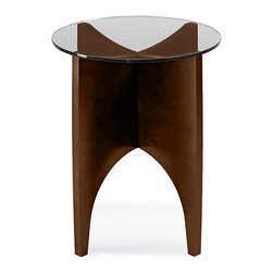 Turnstone - Alight Occasional End Table - The Alight Occasional End Table, with its x-shaped base and glass top, is at home in any setting. Solid manufactured wood with wood-grain laminate base and tempered glass make this round side table a long-lasting piece you'll enjoy.