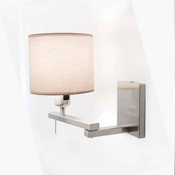 """Blauet - Blauet Berilio wall sconce - The Berilio wall sconce from Blauet has been designed by Estudio Blauet. This wall mounted luminaire is great for incandescent lighting. The Berilio is composed of a sleek combination of satin nickel and fabric. The shade of this fixture is available in either linen or plisse (light beige) which is a puckered finish given to fabric by treating it with a caustic soda. This light's diffuser is attached to a swinging arm, allowing you to position the light in a way that suits you best. The Berilio wall sconce offers an elegant as well as contemporary approach to lighting, which is sure to beautifully illuminate any domain.    Product Details: The Berilio wall sconce from Blauet has been designed by Estudio Blauet. This wall mounted luminaire is great for incandescent lighting. The Berilio is composed of a sleek combination of satin nickel and fabric. The shade of this fixture is available in either linen or plisse (light beige) which is a puckered finish given to fabric by treating it with a caustic soda. This light's diffuser is attached to a swinging arm, allowing you to position the light in a way that suits you best. The Berilio wall sconce offers an elegant as well as contemporary approach to lighting, which is sure to beautifully illuminate any domain.   Details:                                      Manufacturer:                                      Blauet                                                     Designer:                                     Estudio Blauet                                                     Made in:                                     Spain                                                     Dimensions:                                      Height: 6.75"""" (20 7/8 cm) Width: max 14 5/8"""" (37 cm)                                                     Light bulb:                                      1 X 100W incandescent                                                     Material:                          """