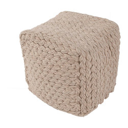 """Jaipur Rugs - Taupe/Tan Handmade 100% Wool Pouf (16""""X16""""X16"""") - Scandanavian poufs are coordinates to our range of rugs.  Constructed of felt and thick woolen yarn."""