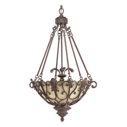Thomasville Lighting - Thomasville Lighting P3809-75 Messina 3 Light Foyer Pendant - Thomasville Lighting P3809-75 Three Light Messina Foyer PendantIncorporating decorative leaves, scrolls, and intricate details with Sepia Haze Glass this ornate three light pendant will transform any room into a stylish 19th century French parlor. Featuring a painstakingly hand-painted Aged Mahogany finish, this entry into the Messina collection will add timeless appeal to your home.Refresh interior settings with Messina's iron scroll basket motif and traditional hand-painted accents. An Aged Mahogany finish is complemented by decorative leaf details in this collection.Thomasville Lighting P3809-75 Features: