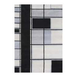 Alliyah Rugs - Dark Grey and Steel Grey Contemporary Rug, Dark Grey, Steel Grey, Black, 5x8 - Alliyah Handmade New Zealand Blended Wool Rug with Dark Grey and Steel Grey color. Antique Washed.