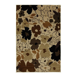 Mohawk Home - Mohawk Versaille Painted Garden Ivory Floral 5'3 x 7'10 Rug (9160) - This contemporary floral design uses neutral colors to create a design that is modern and on trend. Unsurpassed in quality and style without sacrificing affordability, Mohawk Home