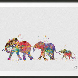 KidsPlayHome - Kids Wall Art Fine Print Magic Elephant Family, 5 X 8 - Elephant Family Playroom Wall Art