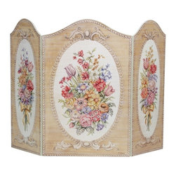 "Stupell Industries - Tapestry and Floral 3 Panel Decorative Fireplace Screen - Decorative and functional. Made in USA. Original Stupell art. 44 in. W x 31 in. H (Approx.). 0.5 in. ThickA fireplace screen from ""The Stupell Home decor Collection"" will be the focal point of any room and the beautiful color and design will immediately enhance your hearth and it's surroundings. Both functional and decorative, this one of kind screen will keep your fireplace out of sight when it's not in use. This piece is handcrafted from original artwork by English muralist Julie Perren. A lithograph is laminated on sturdy 1/2'' thick mdf fiberboard and the sides are hand painted. The item is already assembled in the box and ready to be put in front of the fireplace. Made in USA."