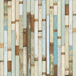 """NLXL - NLXL Piet Hein Eek Scrapwood Wallpaper PHE-03, 19"""" X 353.88"""" - Piet Hein Eek first developed an interest in old materials after restoring a cupboard for his sister; he thought the old wood looked nicer than the new. He has built his business around old materials, saving these discarded pieces of wood and working outside of the circuit of mass production. Piet Hein Eek's work is sold in numerous galleries worldwide. He has exhibited at such venues as the Museum of Modern Art, New York; the Milan Furniture Fair, Italy; and Cibone, Tokyo. Now for the first time, his work is realized in wallpaper and available to a wider audience. There is no pattern in Scrapwood wallpaper, and it has over 10 square feet of unique planks. It is printed in super high resolution on heavy-duty wallpaper with paper top-layer and membrane backing, colorfast and washable with a soft cloth."""