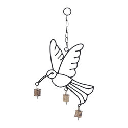 Quality Metal Bird Wind Chime - Spice up the charming look of your abode by adding this elegant metal bird wind chime to your home decor. Delivering great ambience to the surroundings, this elegant wind chime is ideal in decorating both indoor and outdoor areas like living room, patio or porch. Designed to perfection, this wind chime features an outline of a bird in a flying posture. The metal bells are lightweight and sway to even the slight breeze.  They create an interesting sound that is livelier to hear all day long and fill you with peace. This finely detailed metallic wind chime not only creates an interesting sound but also brings great visual appeal to your living space. It is crafted with high quality metal for better durability and long lasting performance.. It comes with a dimension: