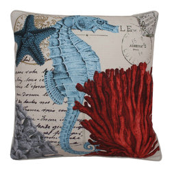 Thro - French Coastal Sea Horse Feather Fill Throw Pillow - Add a touch of the beach to your home decor with this french coastal sea horse printed pillow. Made from faux linen and feather fill, this one of a kind decorative pillow will bring charm to any space.