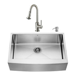 VIGO Industries - VIGO Farmhouse Stainless Steel Kitchen Sink, Faucet, Grid, Strainer and Dispense - Give your kitchen a makeover starting with a VIGO Farmhouse Stainless Steel Kitchen Set.