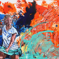 Strike (Original) by Ludovic Nkoth - This painting shows the energy of a tennis player and sets the mood for a stunning tennis game