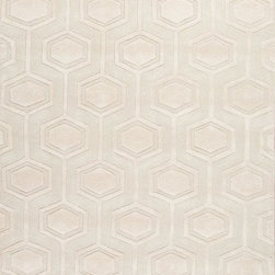 Jaipur - Contemporary Lounge 4'x6' Rectangle Cream Area Rug - The Lounge area rug Collection offers an affordable assortment of Contemporary stylings. Lounge features a blend of natural Cream color. Hand Tufted of 100% Wool the Lounge Collection is an intriguing compliment to any decor.