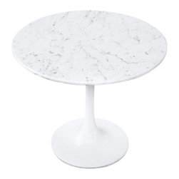 Fine Mod Imports - Flower End Table - Contemporary style. Marble top. Shell is in reinforced molded fiberglass base. Heavy molded cast aluminum base. Warranty: 1 year. White lacquered light gloss finish. Assembly required. 23 in. Dia. x 20 in. H (50 lbs.)