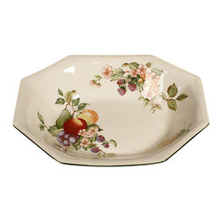 MBW Furniture - New English Johnson Brothers Open Vegetable Octagonal Dish Plate - This is a new beautiful English open vegetable dish plate. It is octagonal and it has a lovely green border around its top edge with lovely foliage, flowers and fruit decorations. It is made in England and it is dishwasher, freezer and microwave safe. It is suitable with many decors.