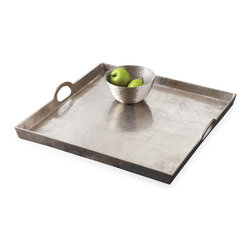 Kathy Kuo Home - Morton Square Mixed Silver Metal Contemporary Serving Tray - The hippest square around, this mixed silver tray ups your serveware style quotient. Three-inch walls surround its perimeter, so you won't have to worry about appetizers sliding off onto your guests' laps. And, the carrying handles make it easy to keep cocktails steady while serving.