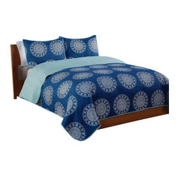 Pem America - Indigo Medallion Full / Queen Quilt with 2 Shams - Large silver and white medallions on a blue background in a bandana style pattern make a great coordinate to your room. Includes 1 full / queen size quilt 86x86 inches and 2 pillow shams 20x26 inches. 100% microfiber polyester face and reverse.  Filled with 50% cotton / 50% polyester. Machine washable.