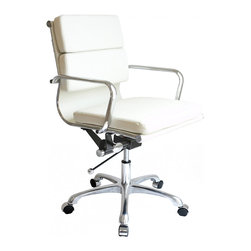 Laura Davidson - Laura Davidson SOHO Soft Pad Management Chair (White) - Sleek and contemporary, the SOHO Soft Pad management chair from Laura Davidson adds style to just about any setting while providing the user with a functional and comfortable seating area. The chair's clean, contemporary lines enhance any décor and work well in your home, office, or living room. This timeless chair features a washable leatherette seat with dual density foam pads. Removable arms enhance the chair's functionality, while its chrome steel tube frame soundly and comfortably provides support as you sit. To accommodate different body sizes and user preferences, the chair benefits from an adjustable height locking tilt mechanism with chrome accents, for a seat height range from 17 to 21 inches high. The chair also swivels 360 degrees for added convenience. For mobility, the chair's cast-aluminum base rests on five chrome-capped wheels. This chair requires minimal assembly (tools included). Covered by a limited one-year warranty, the chair measures 20 inches wide by 20 inches deep with a height of 34 to 37 inches. This item weighs 30 pounds.