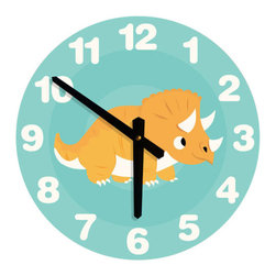 Nursey Code - NURSERY WALL CLOCK - Dinosaur Illustration - Nursery Wall Clock, Dinosaur- Boys room decor.
