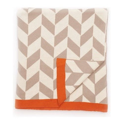 """Darzzi - Polygon Blanket - Everybody loves a good blanket! This stylish, geometric blanket is made from 100% cotton, allowing you to snuggle up with it any time of the year. Perfect for keeping your tootsies warm in the winter & on those breezy summer nights. 50"""" x 60"""" stone/natural with pop of orange."""