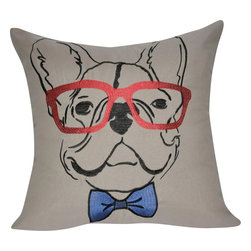 "Loom & Mill - Loom and Mill French Bulldog Pillow, Cream, 21"" x 21"", P0178 - This Loom and Mill French Bulldog Pillow would make a great addition to a couch or bed."